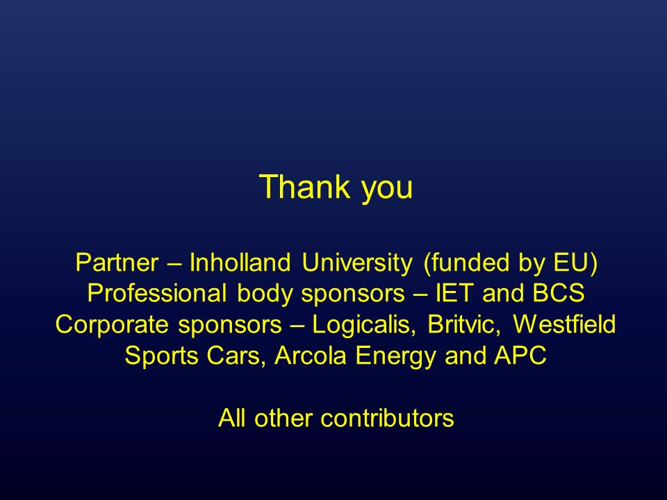 Thank you Partner – Inholland University (funded by EU)
