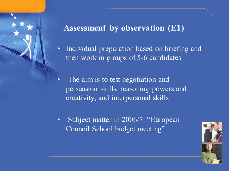 Assessment by observation (E1)