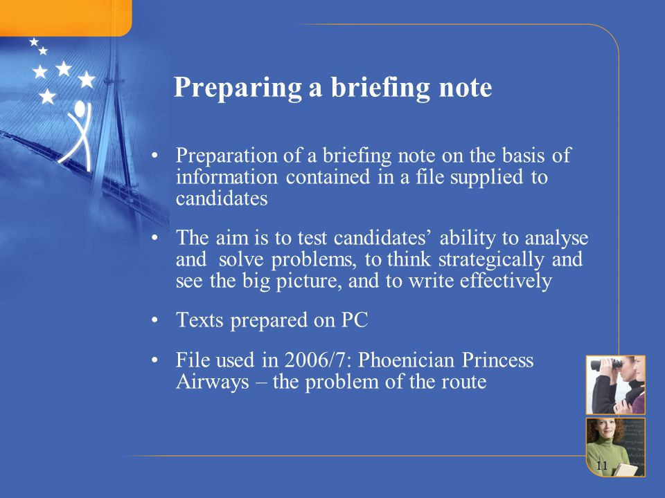 Preparing a briefing note