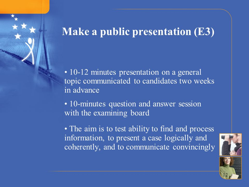 Make a public presentation (E3)