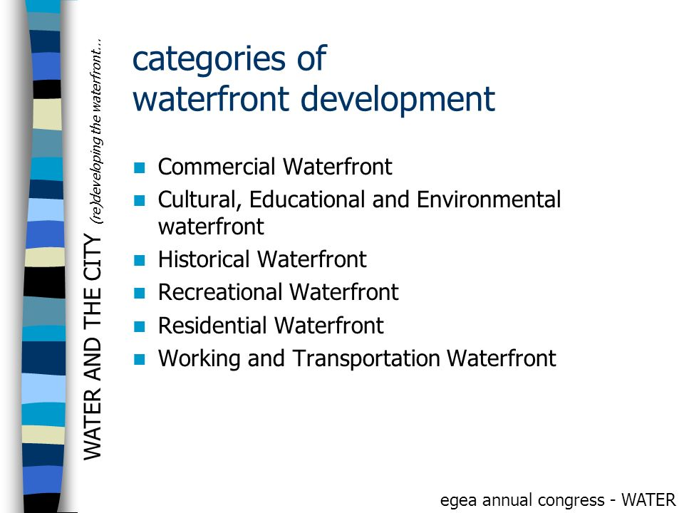 categories of waterfront development