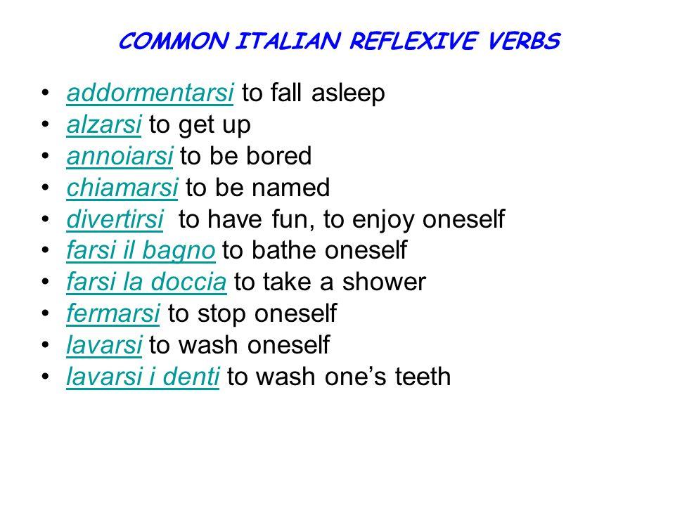 COMMON ITALIAN REFLEXIVE VERBS