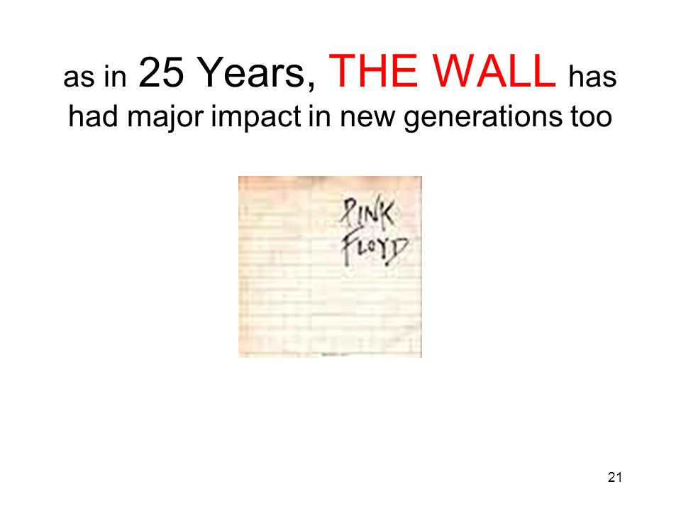 as in 25 Years, THE WALL has had major impact in new generations too