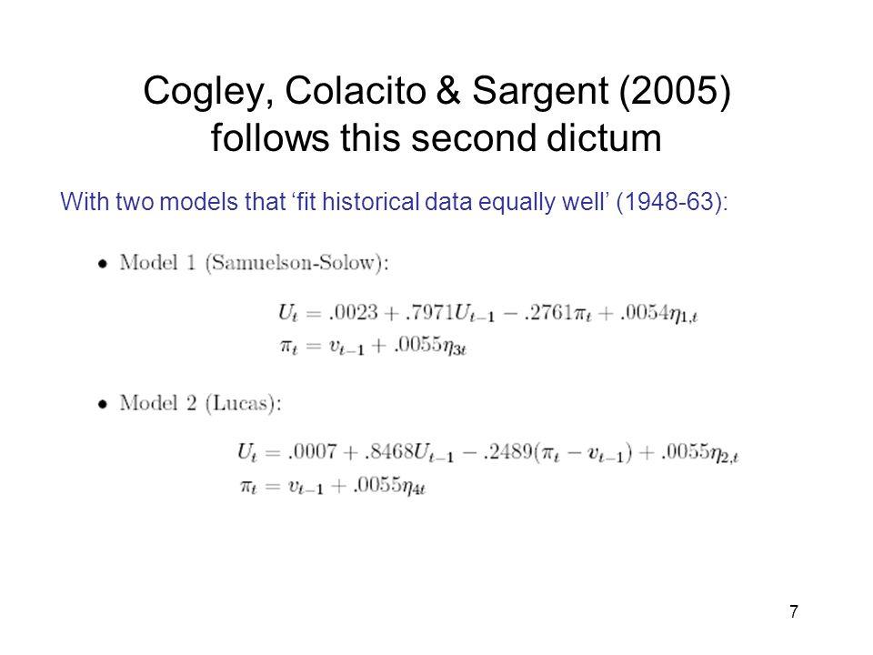 Cogley, Colacito & Sargent (2005) follows this second dictum