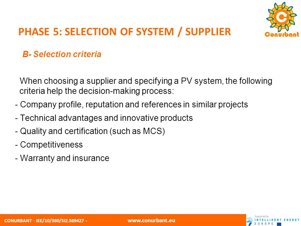 PHASE 5: SELECTION OF SYSTEM / SUPPLIER