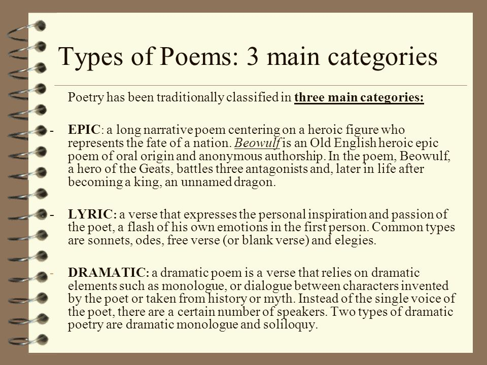 Types of Poems: 3 main categories