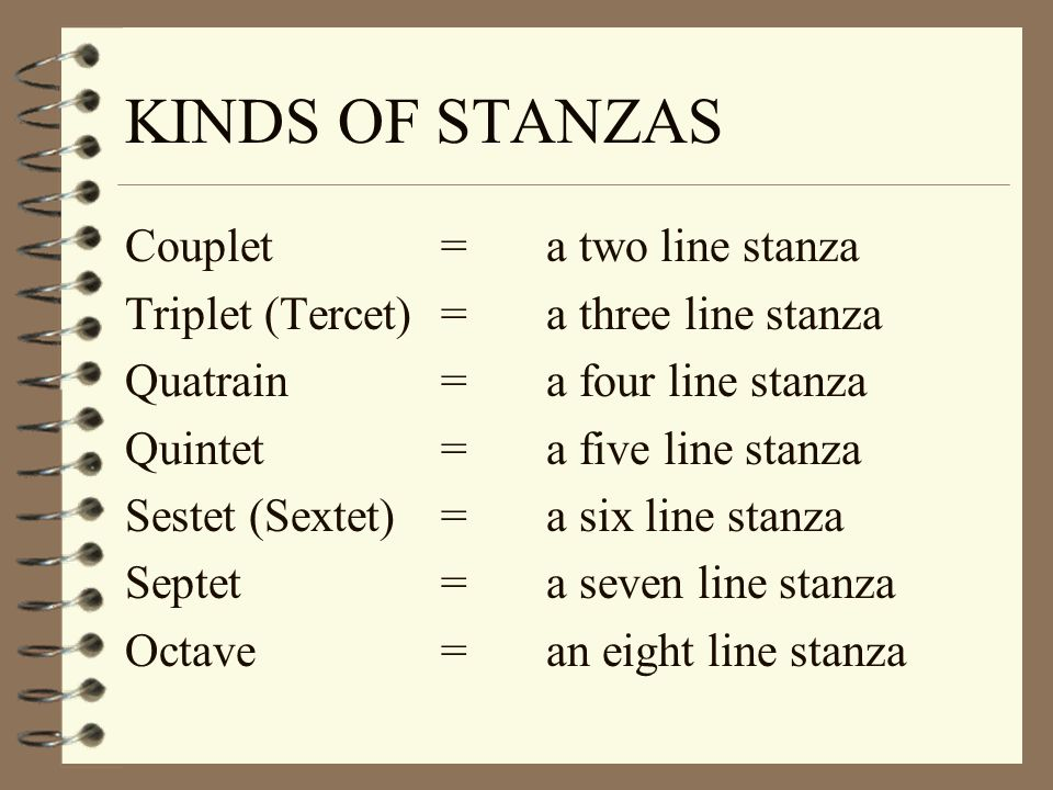 KINDS OF STANZAS Couplet = a two line stanza