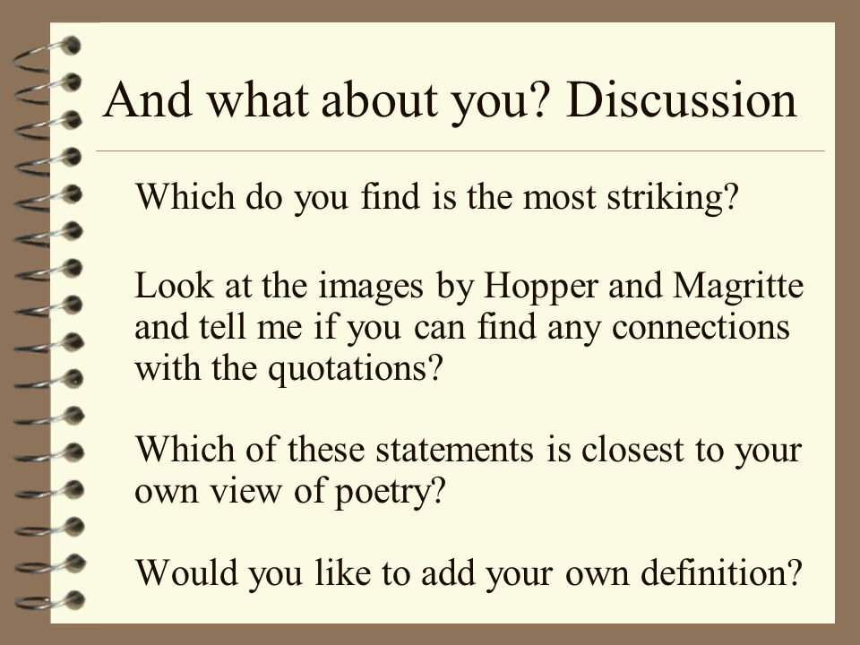 And what about you Discussion