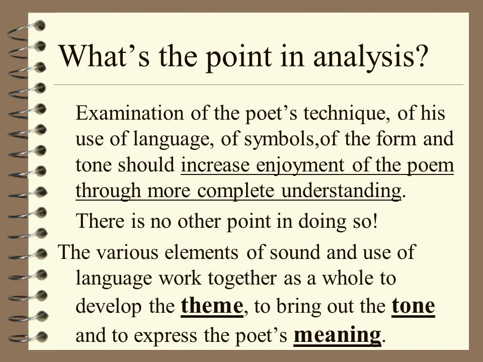 What's the point in analysis