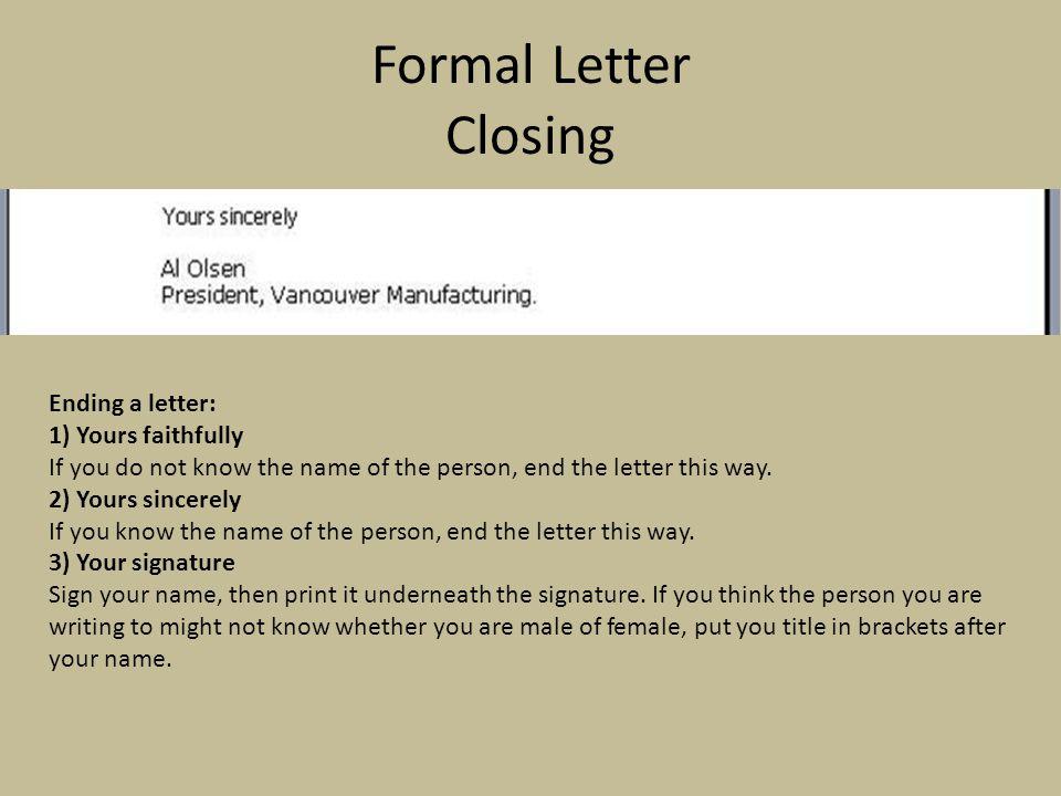 Polite Ending Letter Formal