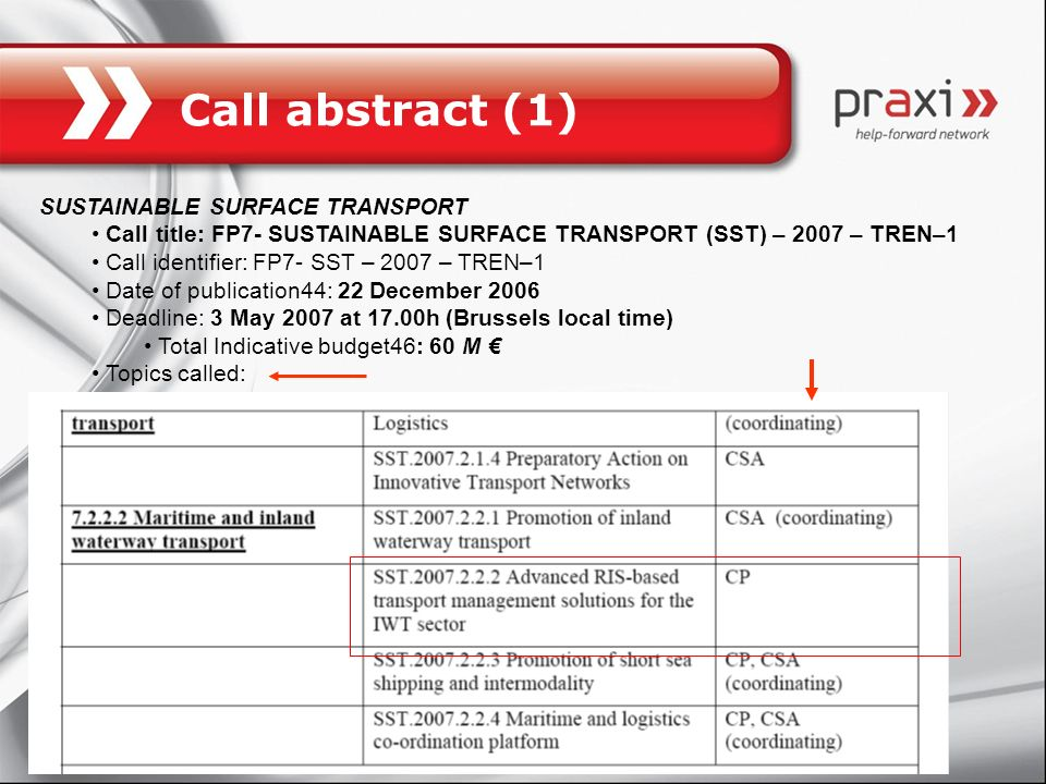 Call abstract (1) SUSTAINABLE SURFACE TRANSPORT
