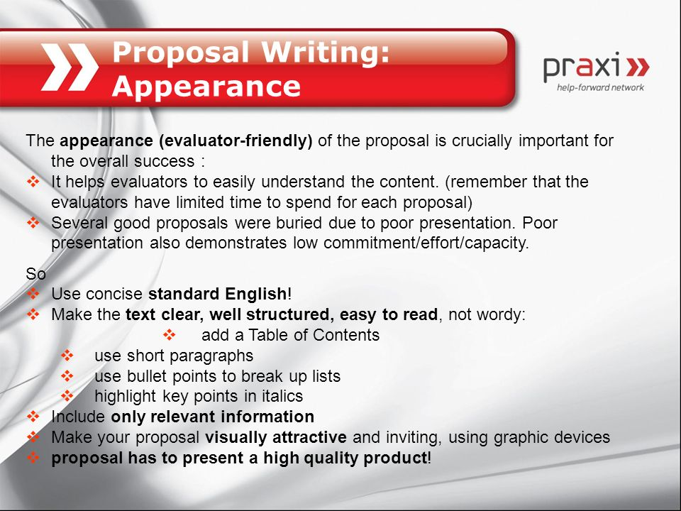 Proposal Writing: Appearance