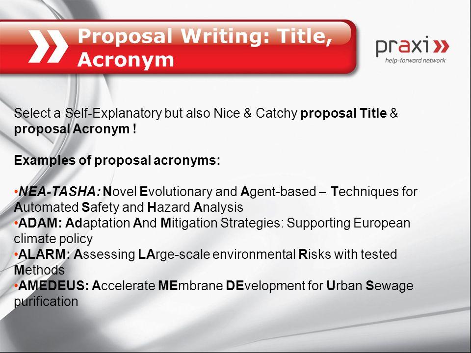 Proposal Writing: Title, Acronym
