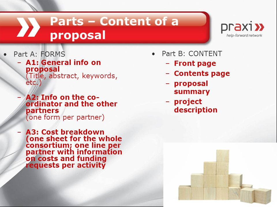 Parts – Content of a proposal