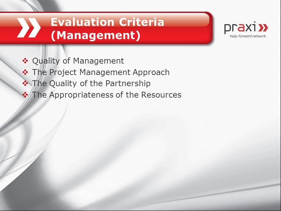Evaluation Criteria (Management)
