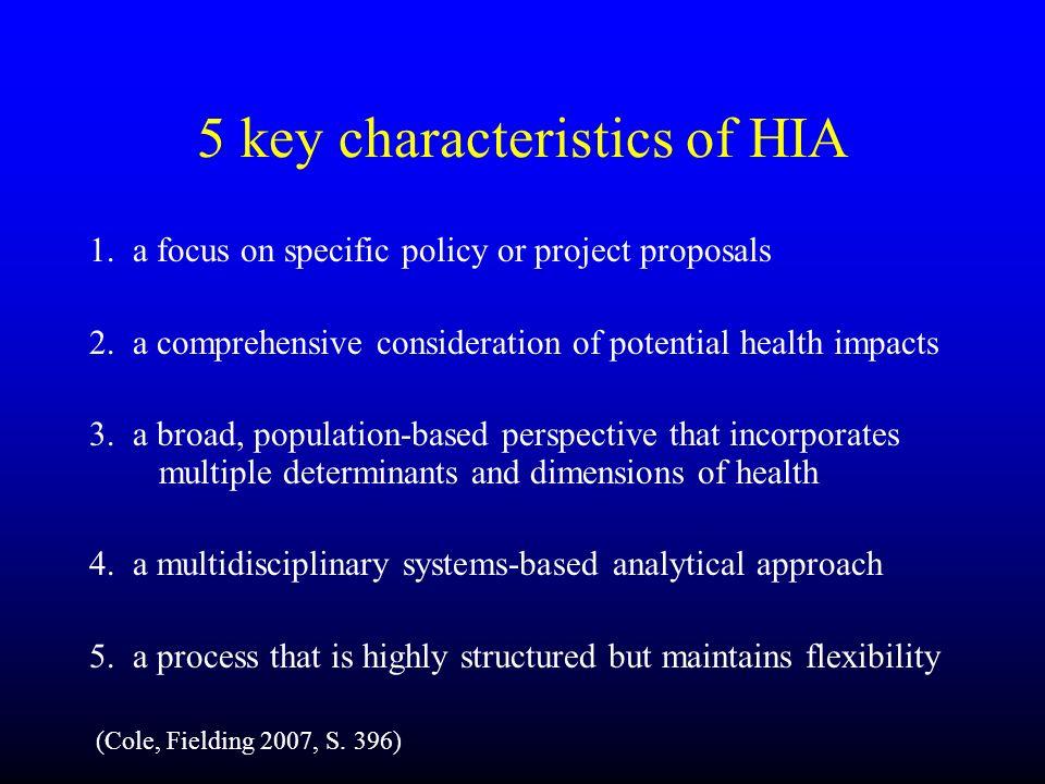 5 key characteristics of HIA