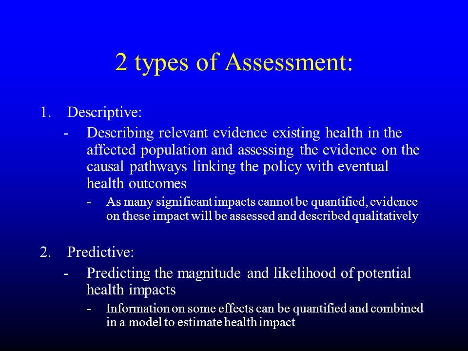 2 types of Assessment: Descriptive: