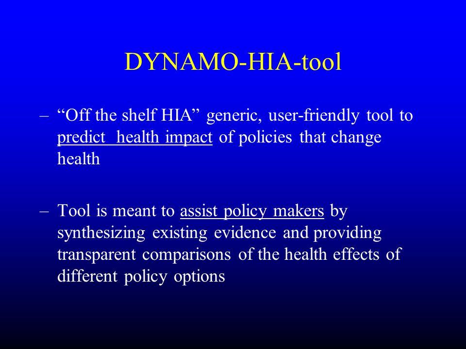 DYNAMO-HIA-tool Off the shelf HIA generic, user-friendly tool to predict health impact of policies that change health.