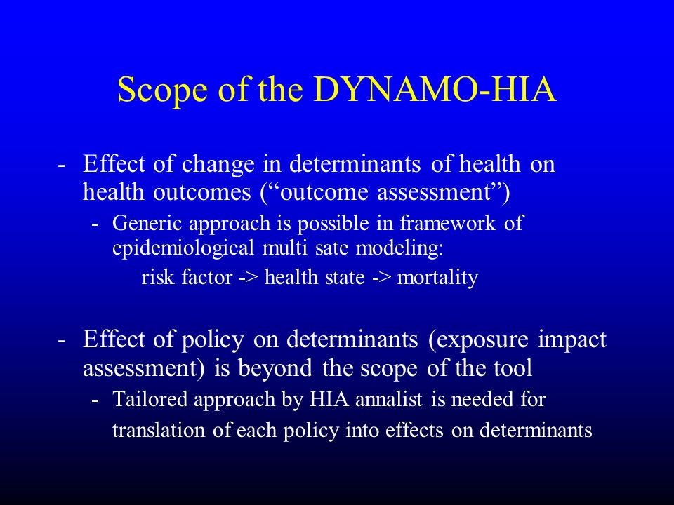 Scope of the DYNAMO-HIA