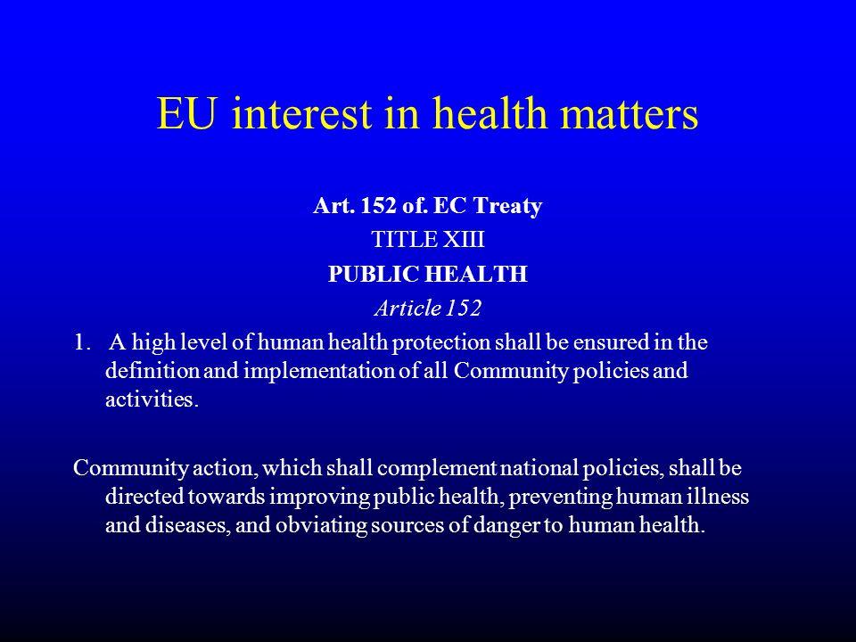 EU interest in health matters