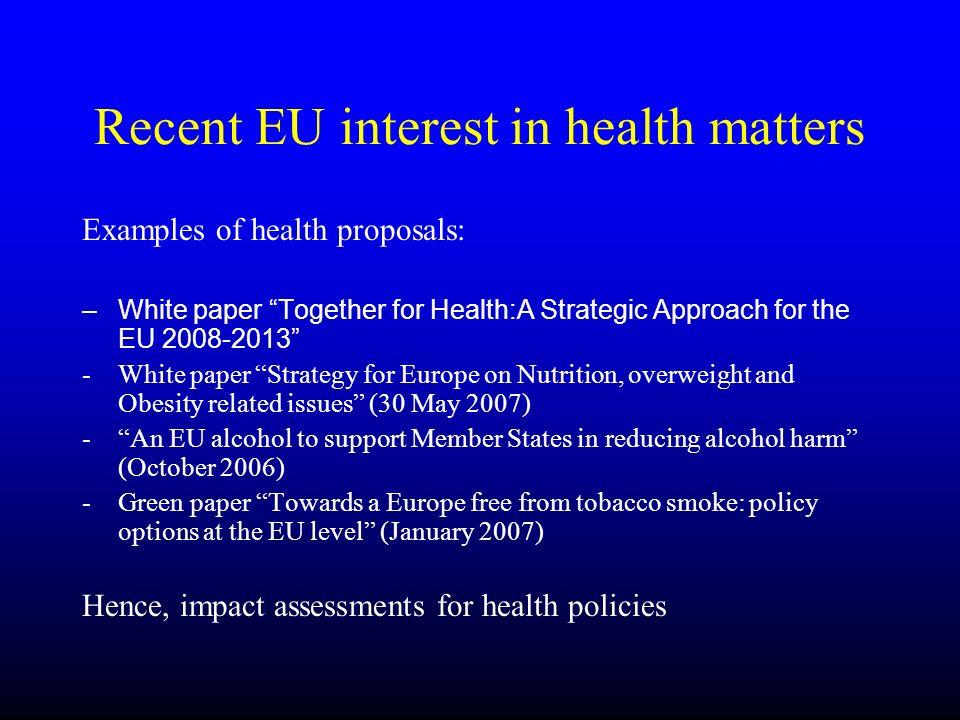 Recent EU interest in health matters