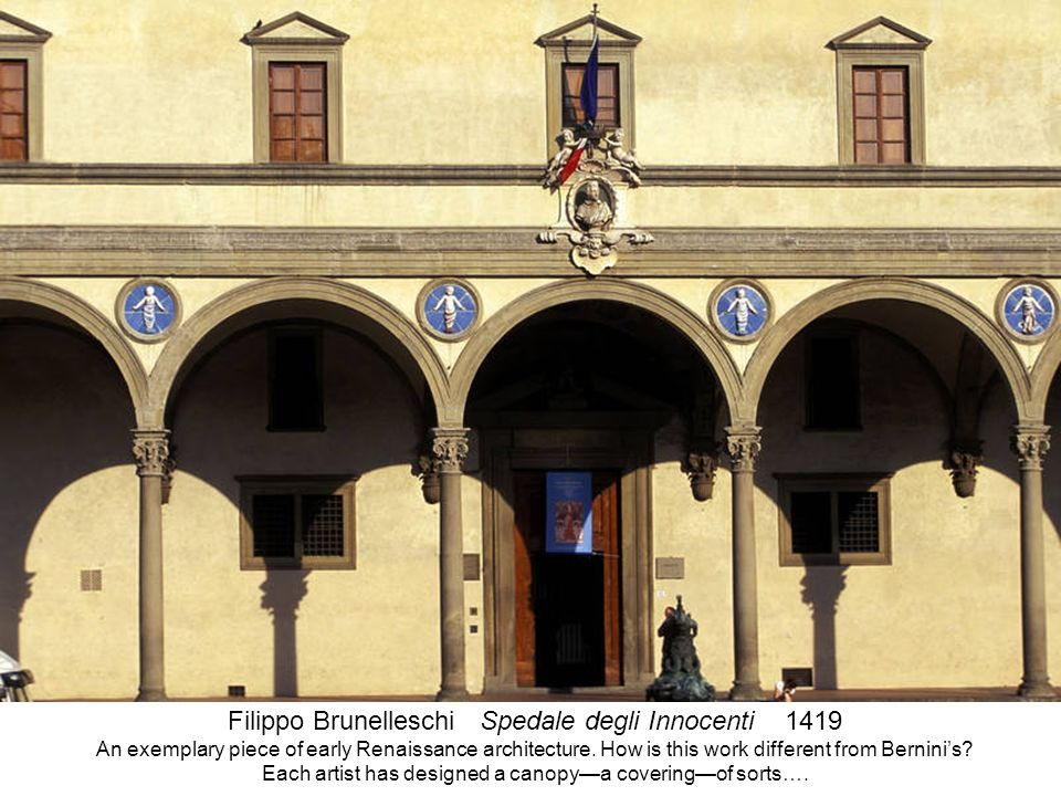 The Spedale degli Innocenti was a foundling children's orphanage established in 1419 and designed by Filippo Brunelleschi. This Foundling Hospital is regarded as a prime example of early Italian Renissance architecture.
