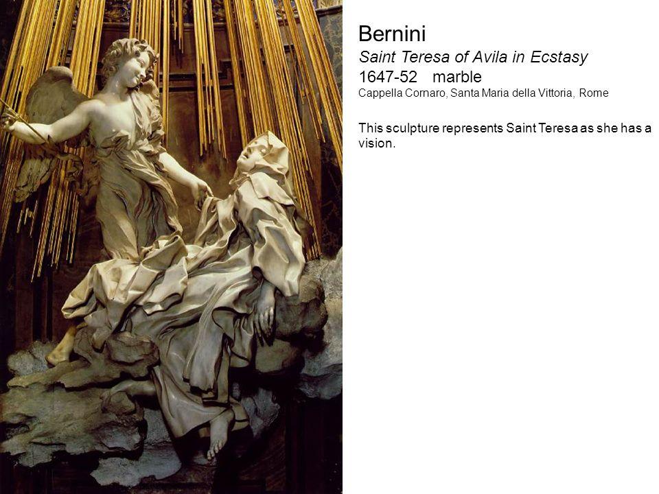 Bernini Saint Teresa of Avila in Ecstasy 1647-52 marble Cappella Cornaro, Santa Maria della Vittoria, Rome