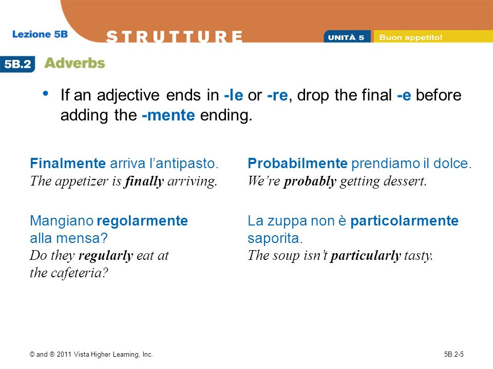 If an adjective ends in -le or -re, drop the final -e before adding the -mente ending.
