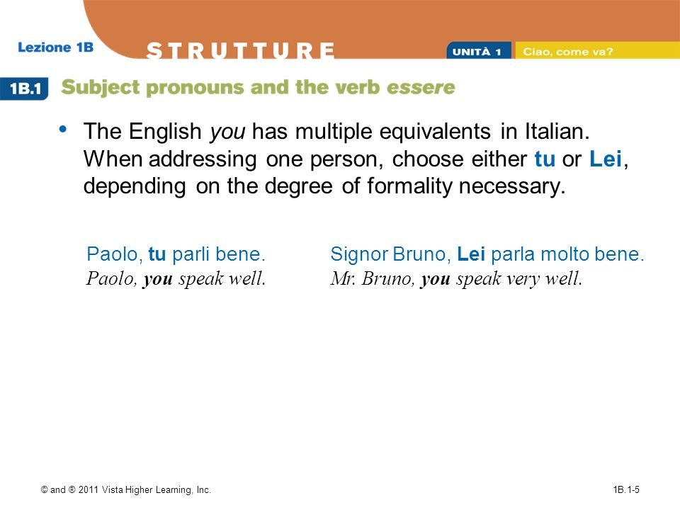 The English you has multiple equivalents in Italian
