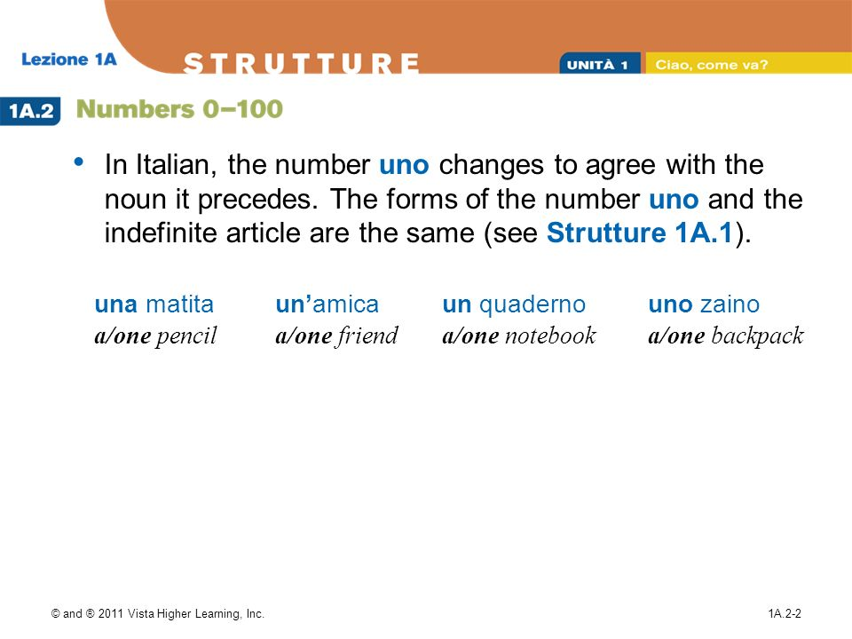 In Italian, the number uno changes to agree with the noun it precedes