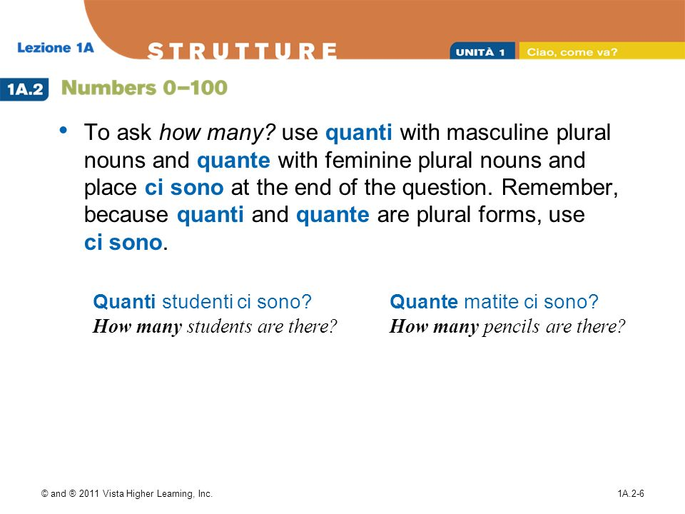 To ask how many use quanti with masculine plural nouns and quante with feminine plural nouns and place ci sono at the end of the question. Remember, because quanti and quante are plural forms, use ci sono.