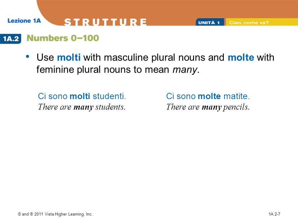 Use molti with masculine plural nouns and molte with feminine plural nouns to mean many.