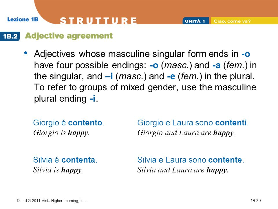 Adjectives whose masculine singular form ends in -o have four possible endings: -o (masc.) and -a (fem.) in the singular, and –i (masc.) and -e (fem.) in the plural. To refer to groups of mixed gender, use the masculine plural ending -i.