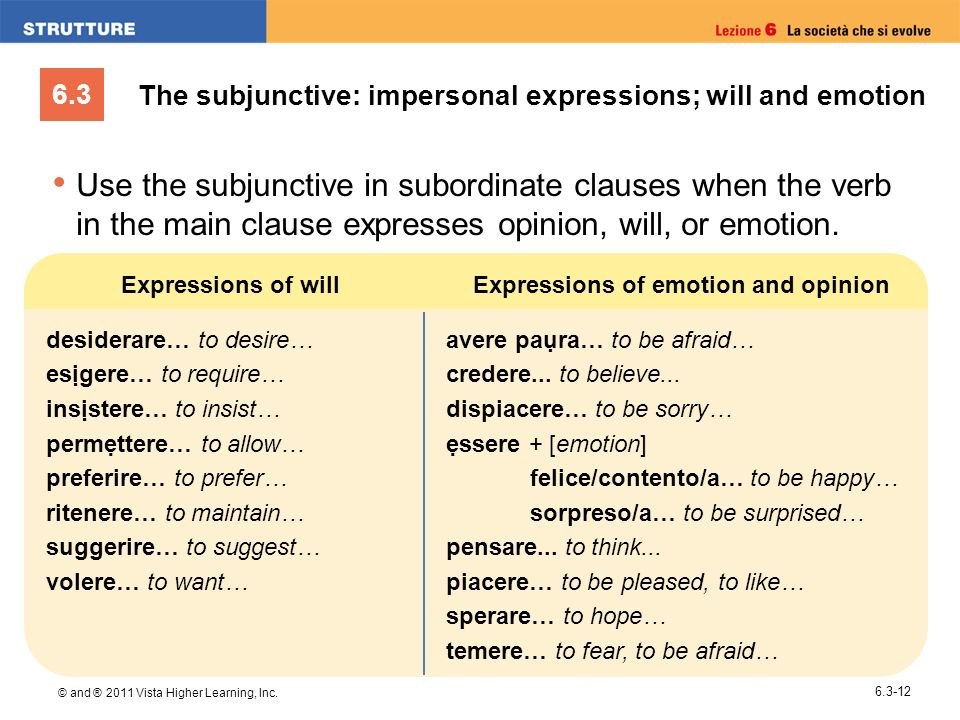 The subjunctive: impersonal expressions; will and emotion