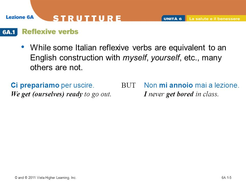 While some Italian reflexive verbs are equivalent to an English construction with myself, yourself, etc., many others are not.