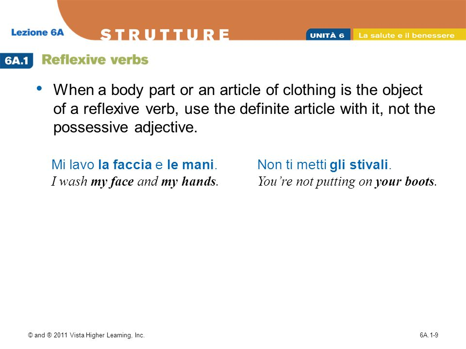 When a body part or an article of clothing is the object of a reflexive verb, use the definite article with it, not the possessive adjective.
