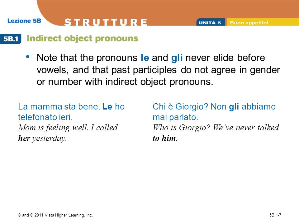 Note that the pronouns le and gli never elide before vowels, and that past participles do not agree in gender or number with indirect object pronouns.