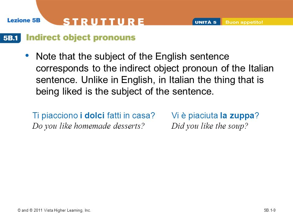Note that the subject of the English sentence corresponds to the indirect object pronoun of the Italian sentence. Unlike in English, in Italian the thing that is being liked is the subject of the sentence.