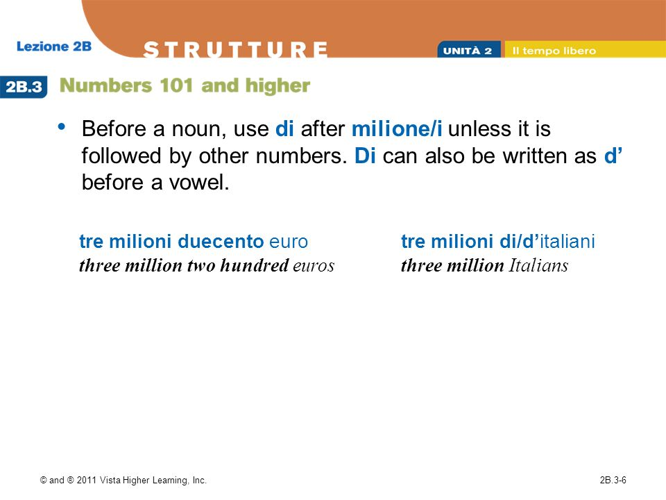 Before a noun, use di after milione/i unless it is followed by other numbers. Di can also be written as d' before a vowel.