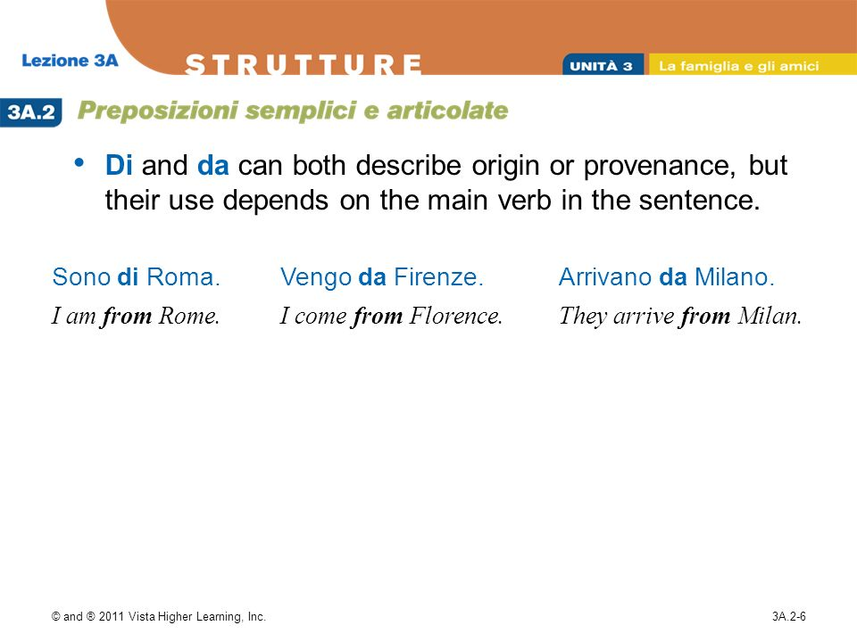 Di and da can both describe origin or provenance, but their use depends on the main verb in the sentence.
