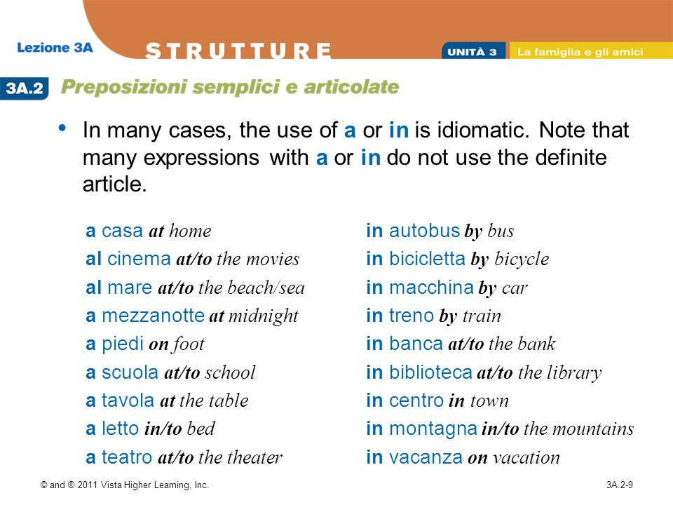 In many cases, the use of a or in is idiomatic