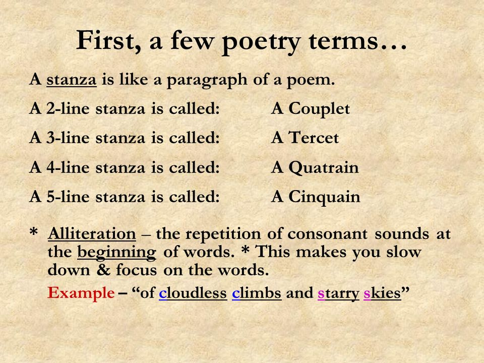 First, a few poetry terms…