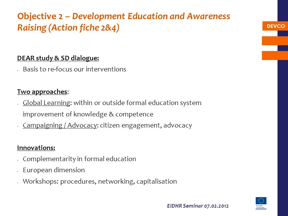 Objective 2 – Development Education and Awareness Raising (Action fiche 2&4)