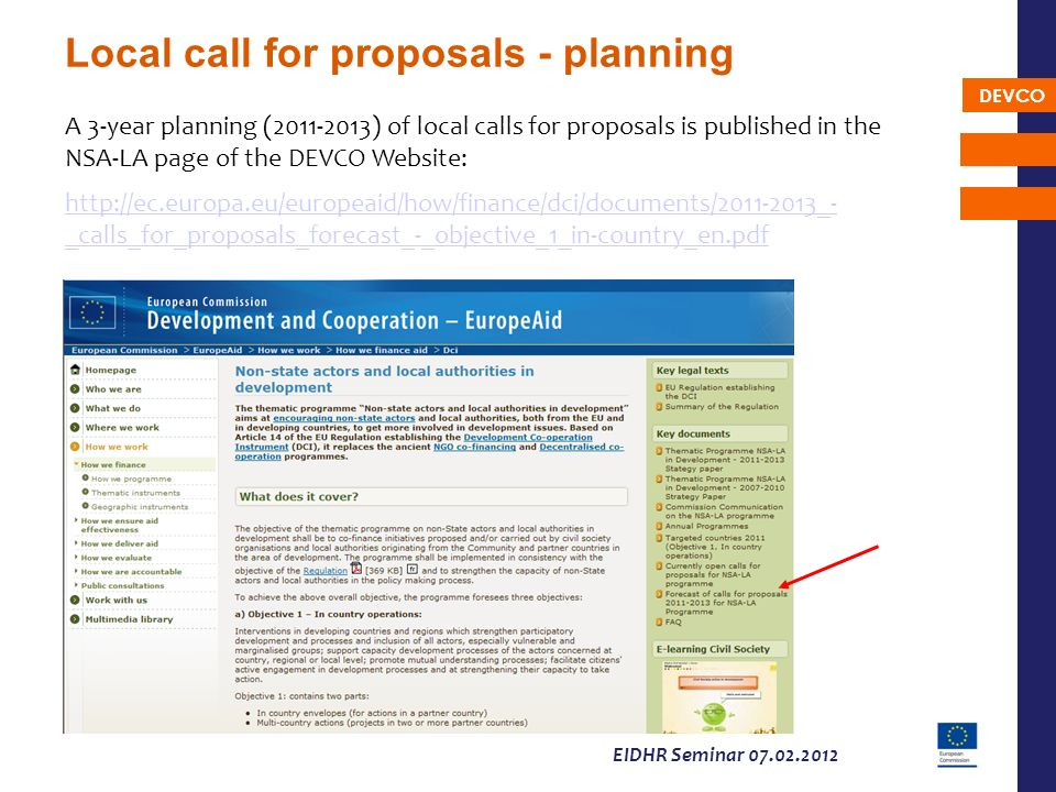 Local call for proposals - planning