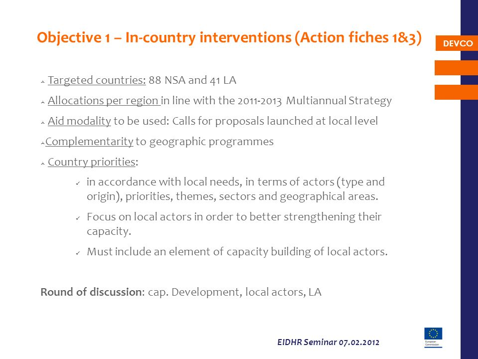 Objective 1 – In-country interventions (Action fiches 1&3)