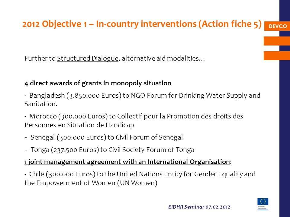 2012 Objective 1 – In-country interventions (Action fiche 5)