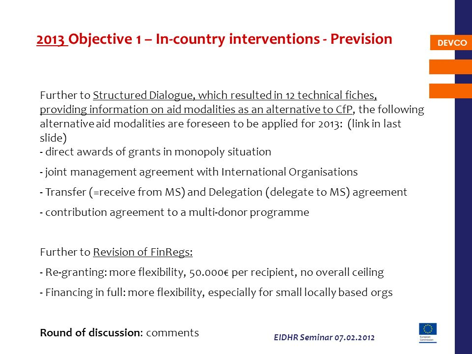2013 Objective 1 – In-country interventions - Prevision