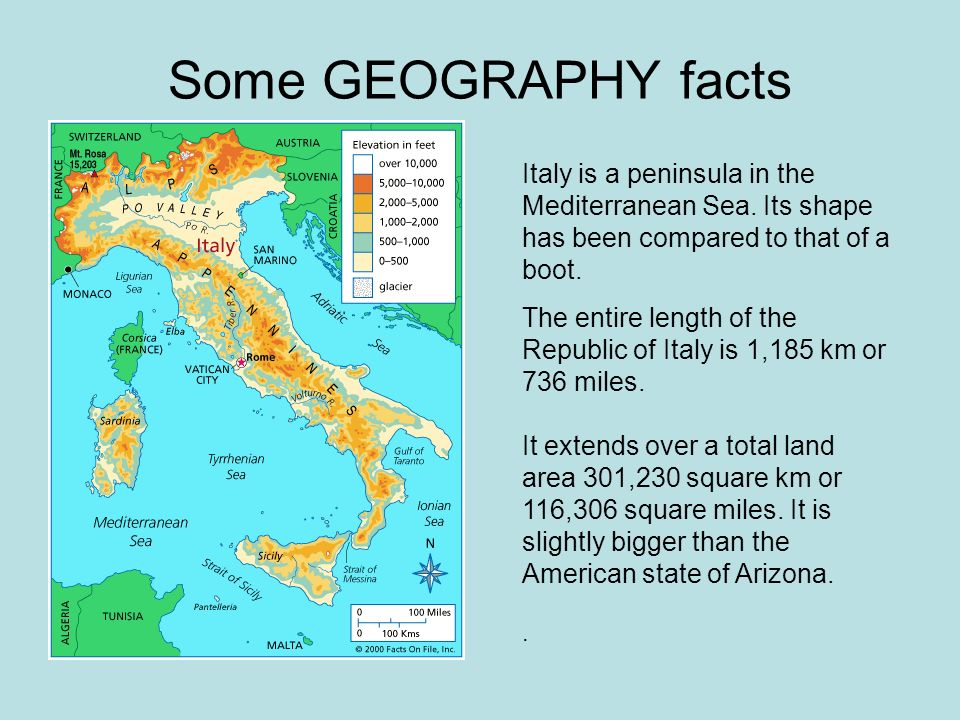 Some GEOGRAPHY facts Italy is a peninsula in the Mediterranean Sea. Its shape has been compared to that of a boot.