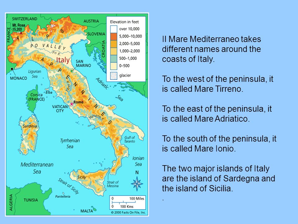 Il Mare Mediterraneo takes different names around the coasts of Italy.