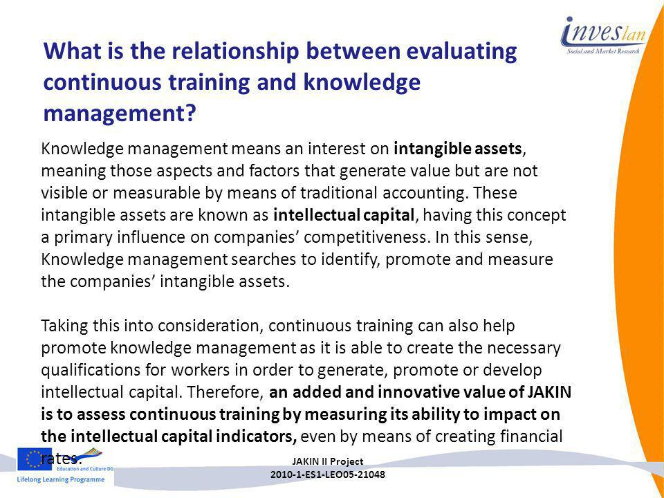 What is the relationship between evaluating continuous training and knowledge management